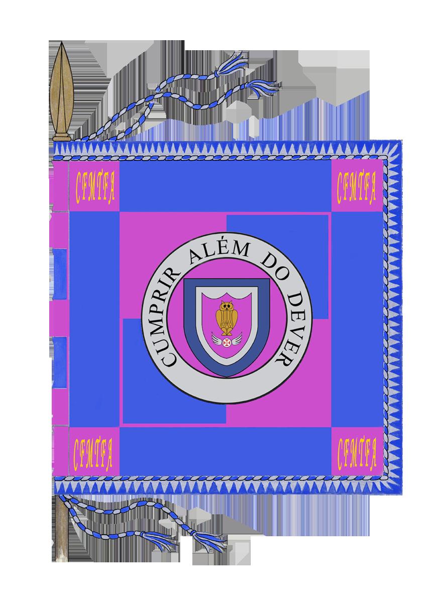 Estandarte Esquartelado de púrpura e azul, bordadura de azul acantonada de púrpura. Ao centro, brocante sobre o ordenamento geométrico, um listel circular de prata contendo a divisa «CUMPRIR ALÉM DO DEVER», em letras de estilo elzevir, maiúsculas, de negro. Dentro do círculo púrpura, delimitado pelo listel, contém-se um escudo com o brasão de armas da Unidade. Em cada canto, bordados a ouro, as iniciais «CFMTFA». O estandarte está debruado por um cordão de prata e azul e franjado de prata.